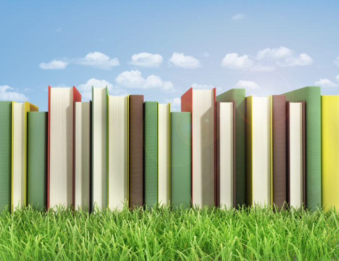 Stack of books on the grass.