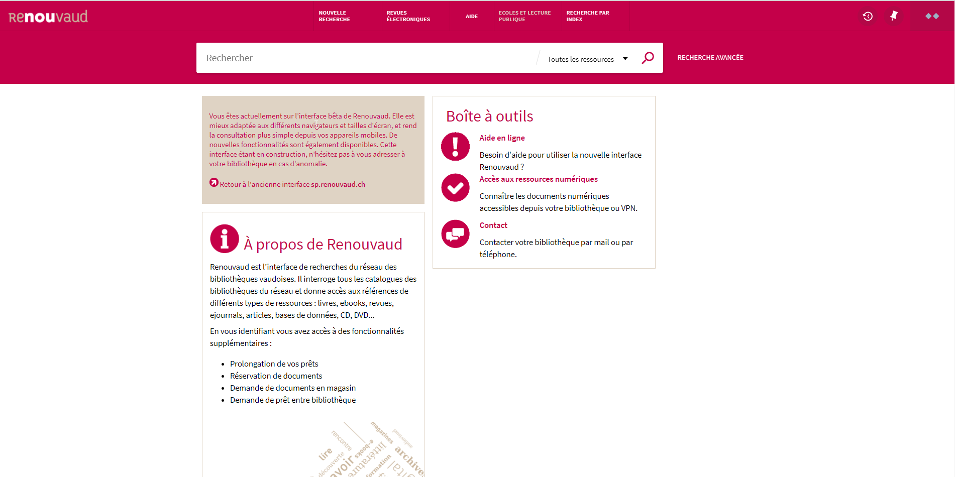 Nouvelle interface du catalogue Renouvaud