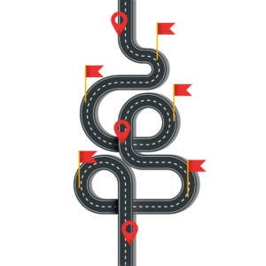 Vector winding road with pins and flags isolated on white background. Illustration of street road curve with oins and flags