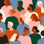 Illustration d'une foule colorée